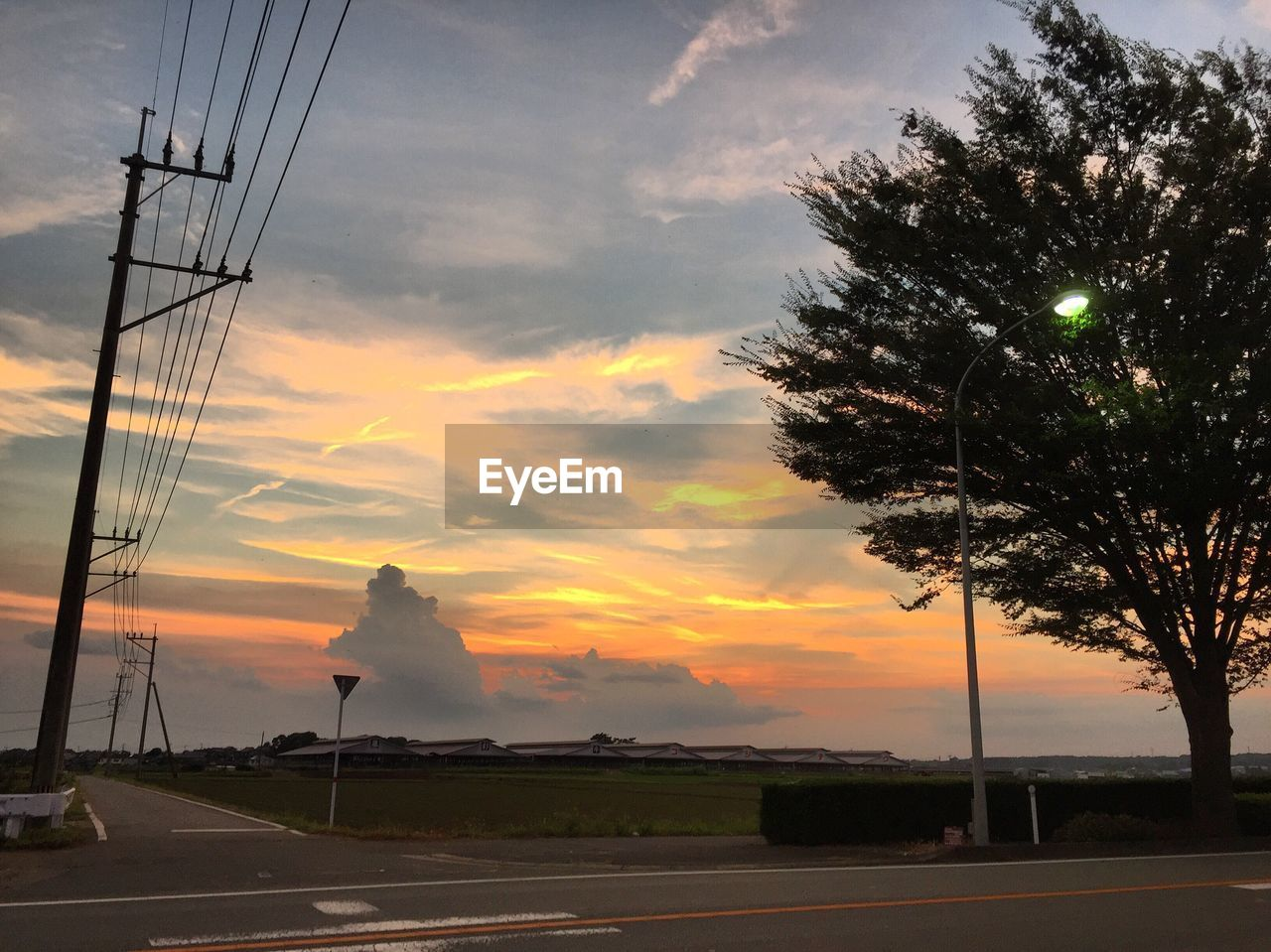 sky, road, cable, electricity pylon, electricity, cloud - sky, transportation, tree, no people, sunset, technology, fuel and power generation, outdoors, nature, day, telephone line
