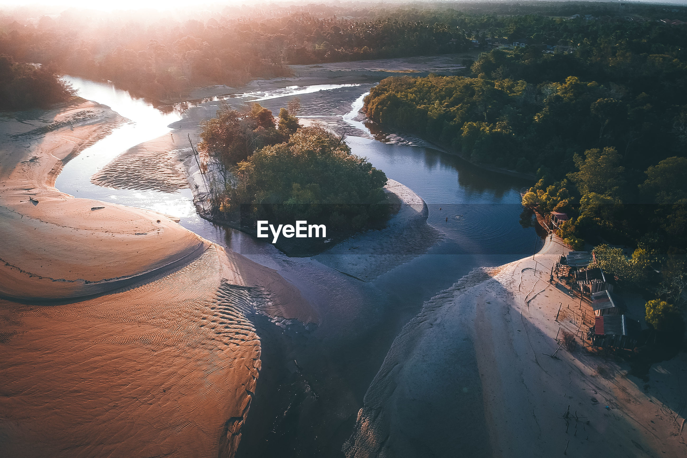 HIGH ANGLE VIEW OF RIVER BY TREES