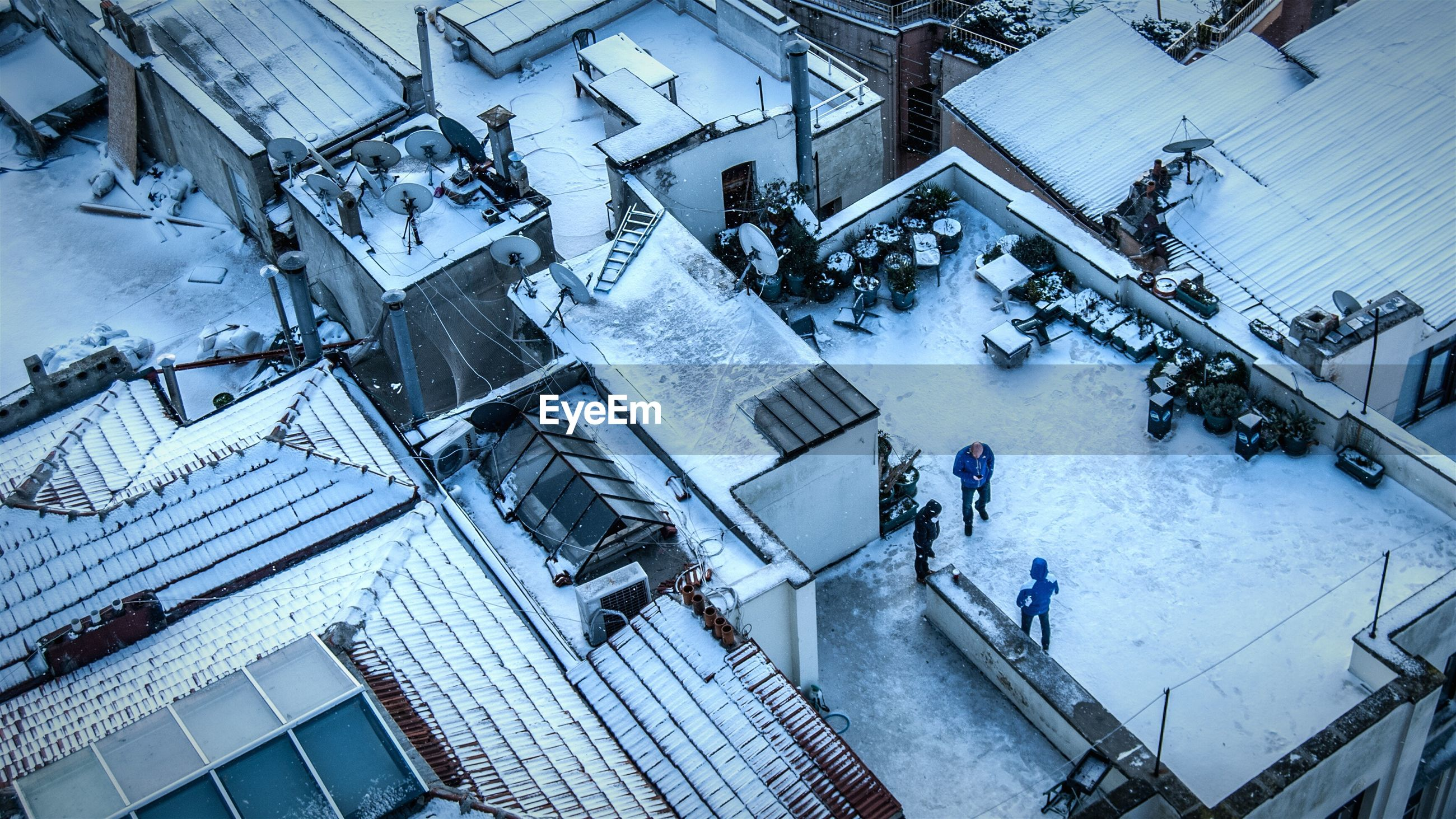 High angle view of snow covered houses