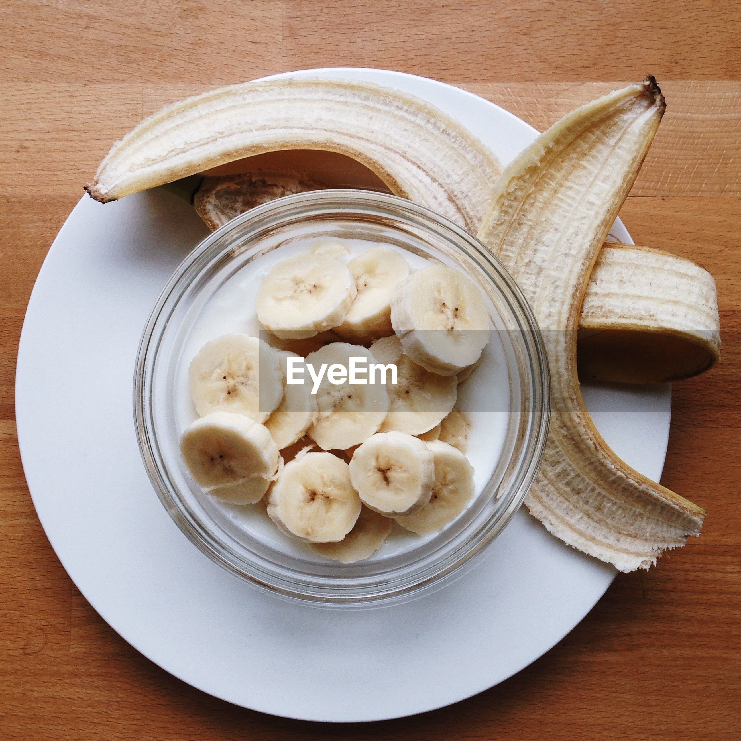 Close-up high angle view of banana slices in bowl