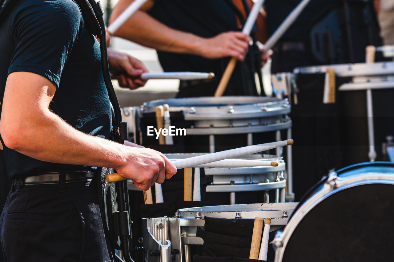 Drum line warming up before a football game