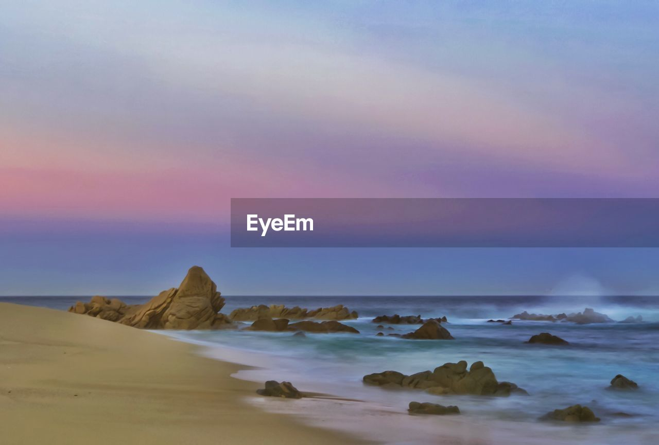 sea, sky, water, beauty in nature, scenics - nature, tranquil scene, horizon over water, horizon, tranquility, sunset, rock, land, beach, rock - object, solid, cloud - sky, no people, nature, idyllic, outdoors