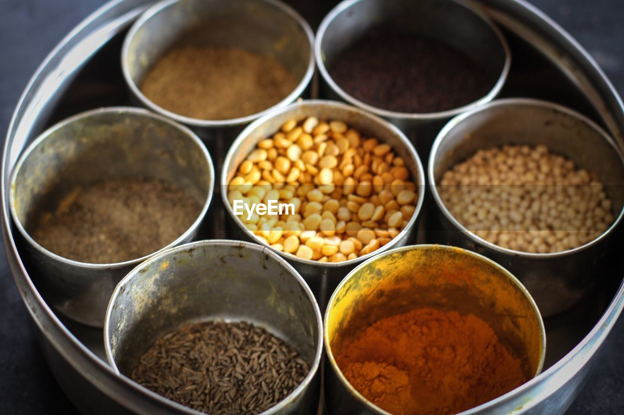 High angle view of ingredients in bowl