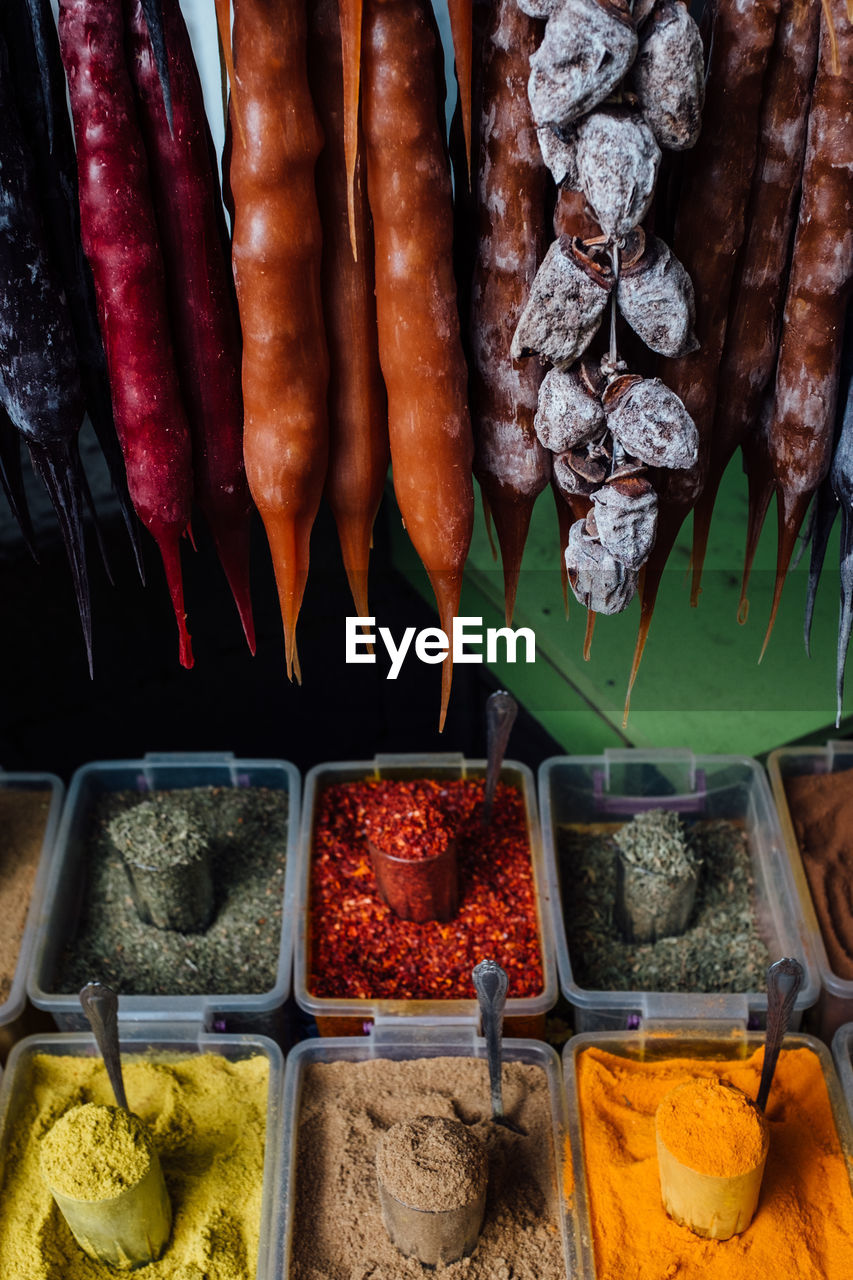 HIGH ANGLE VIEW OF FOOD FOR SALE IN MARKET