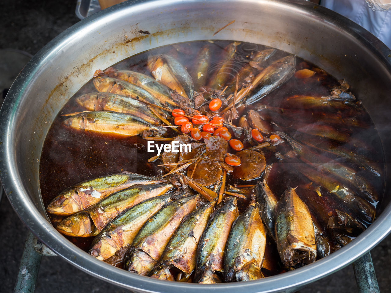 High Angle View Of Boiled Fish On Market