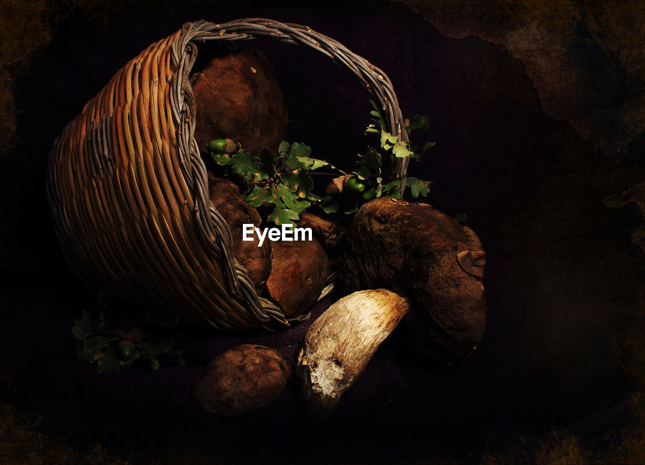 High Angle View Of Mushrooms In Basket On Field