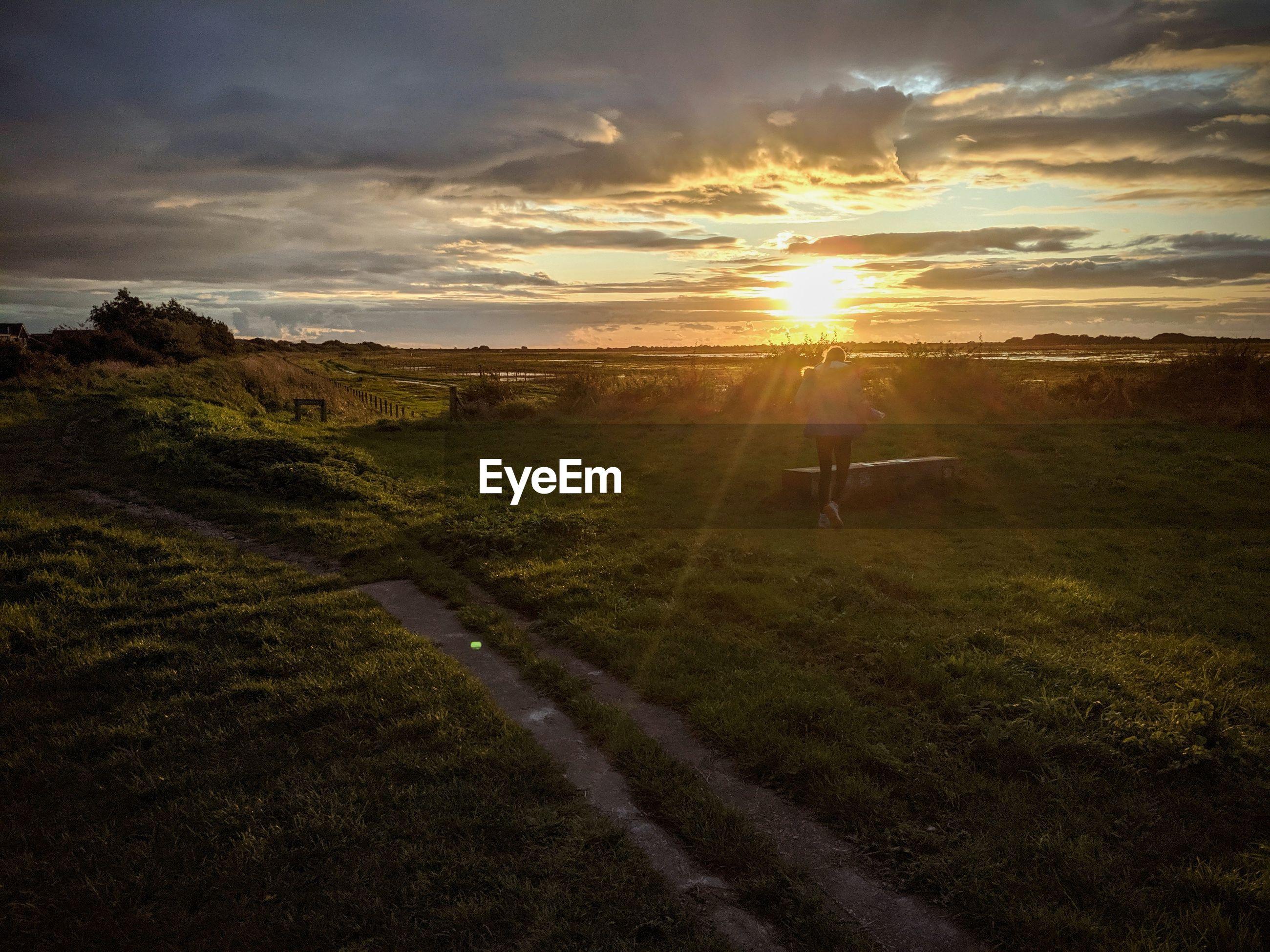 Rear view of teenage girl walking on land during sunset
