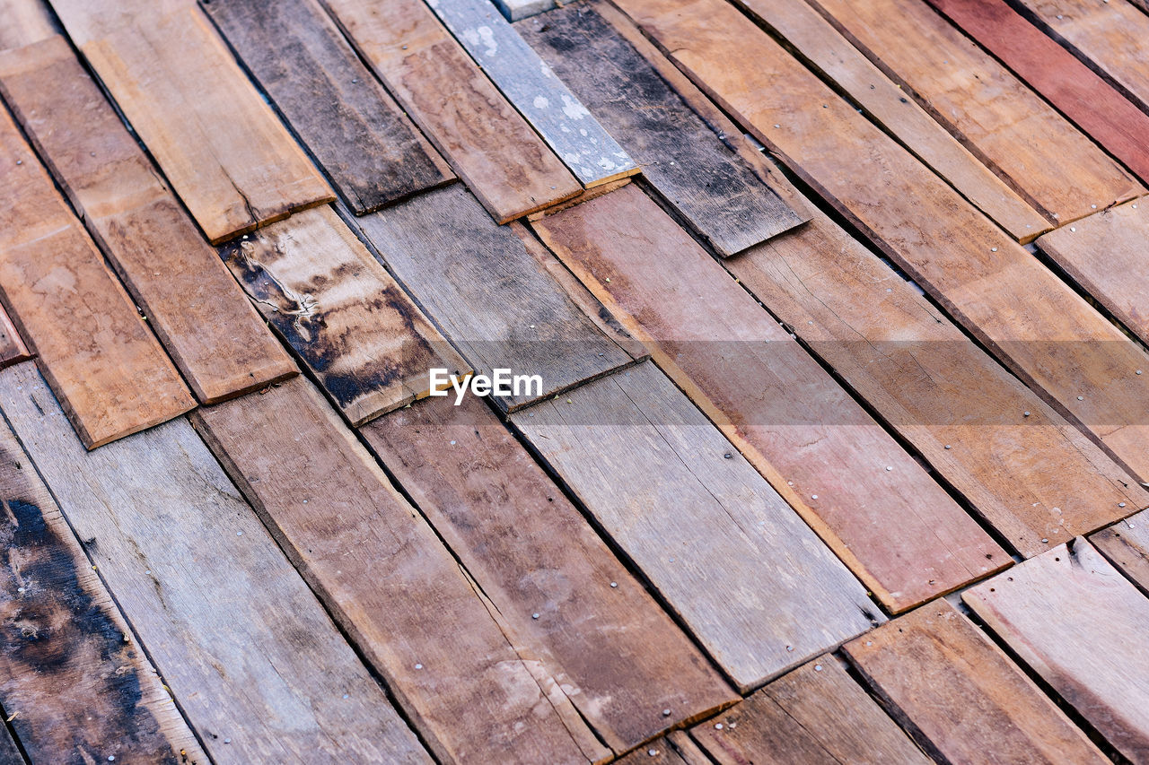 wood - material, pattern, backgrounds, full frame, no people, textured, wood, high angle view, flooring, plank, design, close-up, in a row, day, brown, repetition, indoors, shape, floorboard