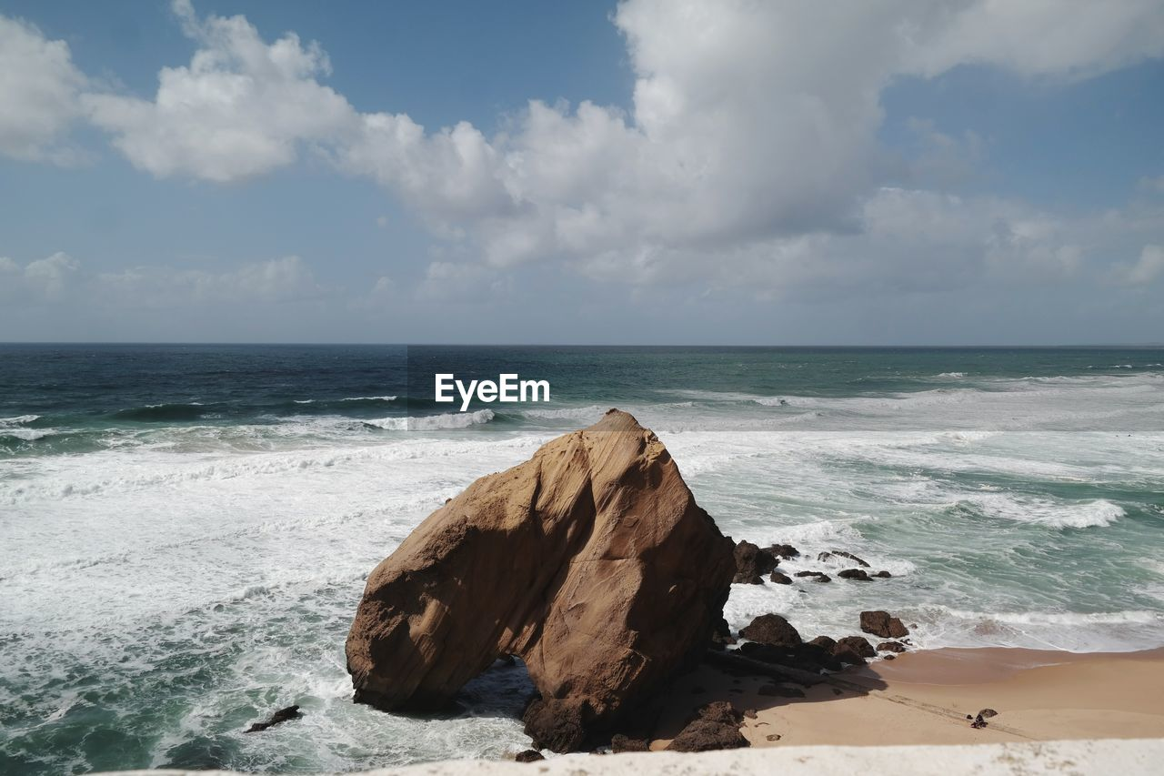 sea, sky, water, horizon over water, horizon, scenics - nature, beach, beauty in nature, land, cloud - sky, motion, wave, tranquility, rock, nature, tranquil scene, day, no people, rock - object, outdoors, power in nature