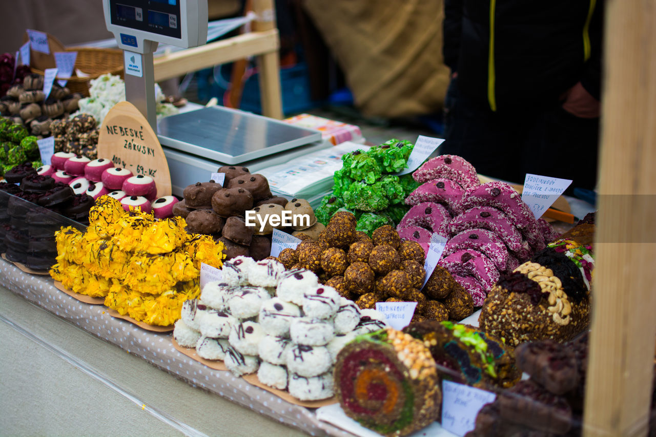 Sweet food at market stall