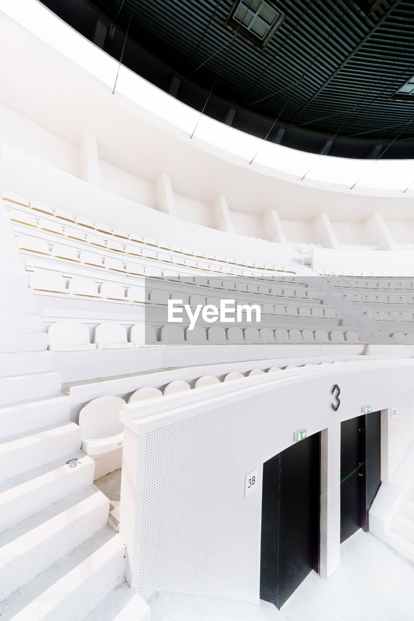 white color, indoors, architecture, no people, built structure, auditorium, day