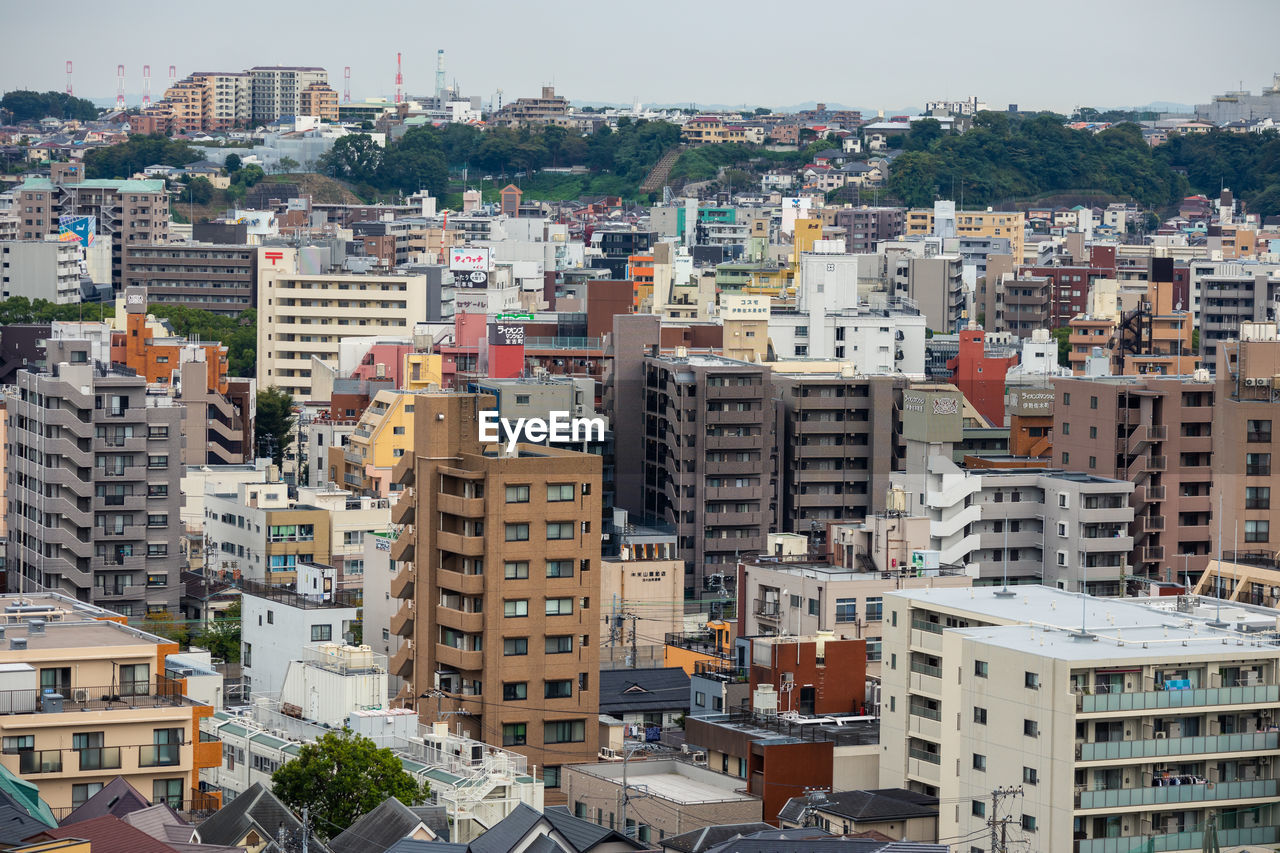 High angle view of townscape against sky in japan.