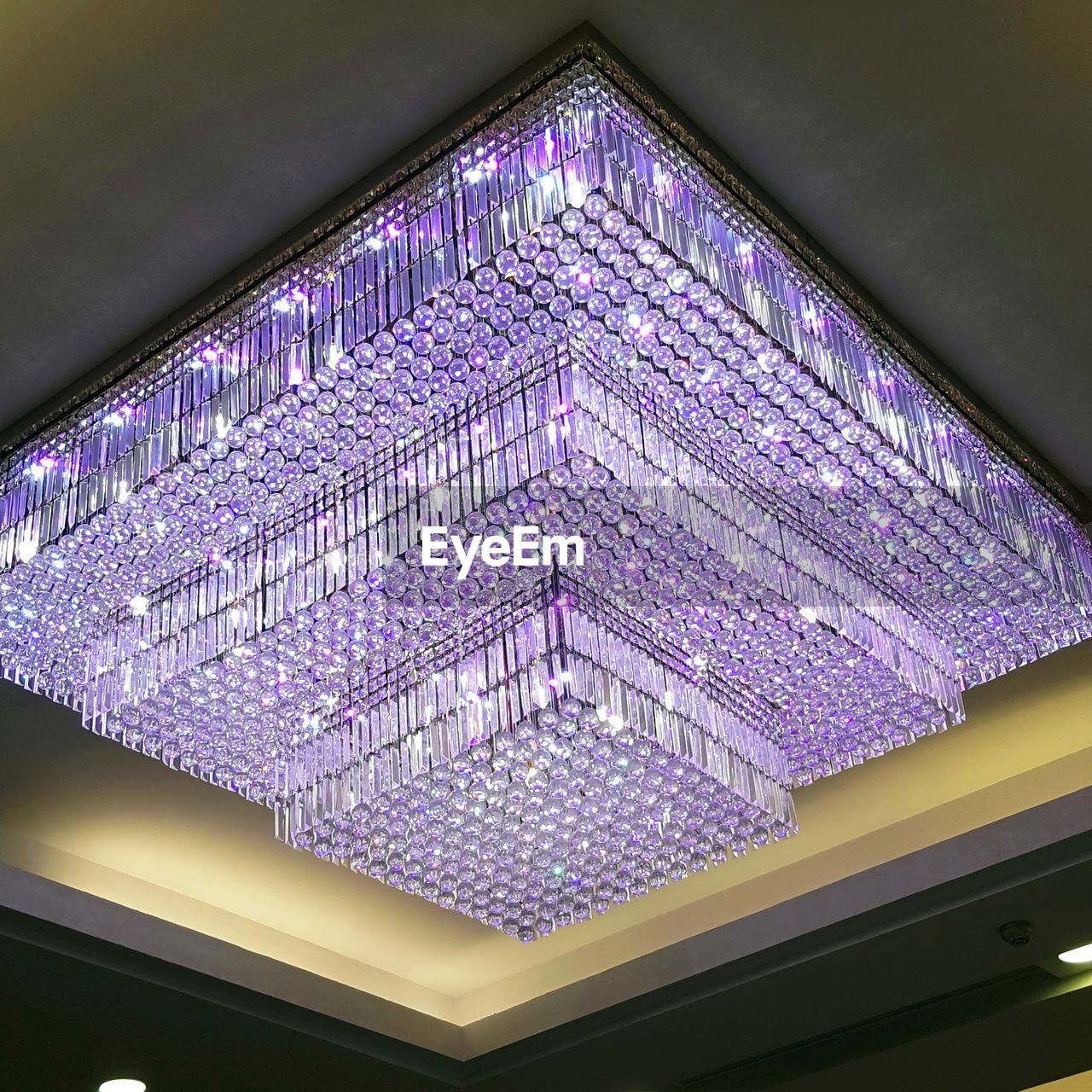 purple, indoors, no people, low angle view, pattern, architecture, close-up, day