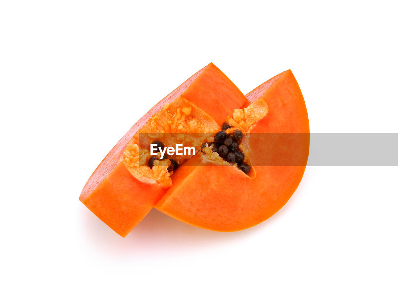 studio shot, white background, fruit, orange color, healthy eating, food and drink, freshness, wellbeing, food, close-up, indoors, still life, cut out, copy space, slice, no people, papaya, seed, orange, orange - fruit, ripe, chopped, temptation, snack
