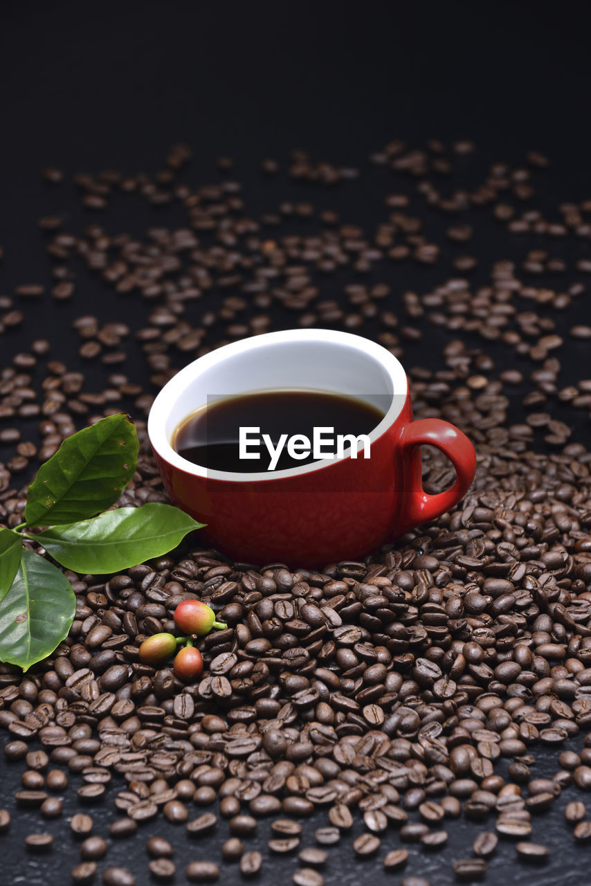 food and drink, cup, refreshment, drink, mug, food, coffee, freshness, coffee - drink, coffee cup, roasted coffee bean, leaf, still life, indoors, no people, table, plant part, brown, healthy eating, close-up, black tea, crockery, non-alcoholic beverage, tea cup, caffeine