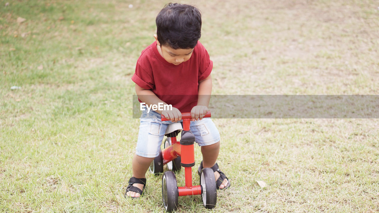 child, childhood, one person, bicycle, men, males, boys, casual clothing, real people, grass, lifestyles, full length, ride, riding, land, day, leisure activity, field, outdoors