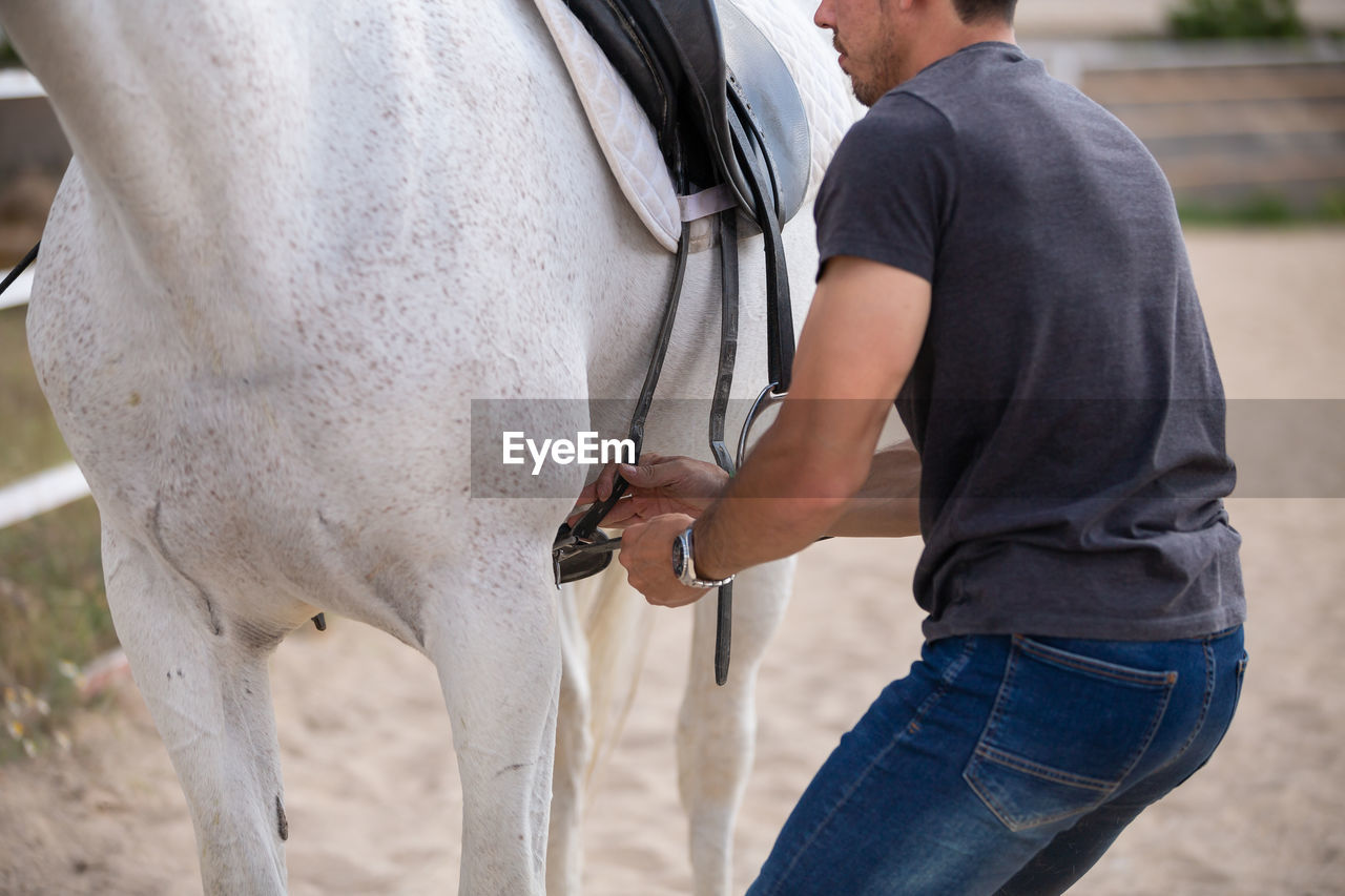Midsection of man preparing saddle on horse
