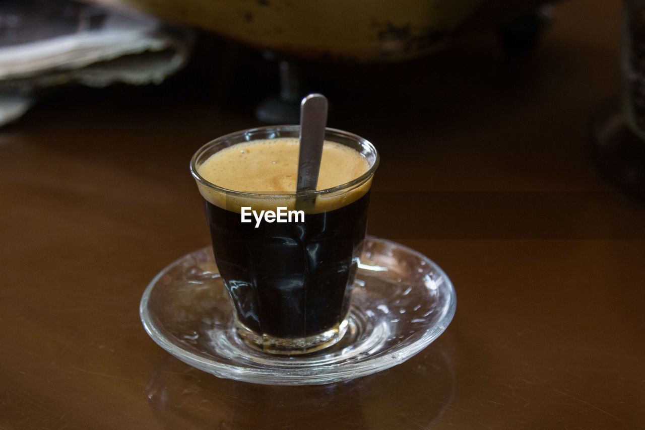 drink, food and drink, refreshment, coffee - drink, table, indoors, focus on foreground, freshness, close-up, no people, frothy drink, drinking glass, healthy eating, day