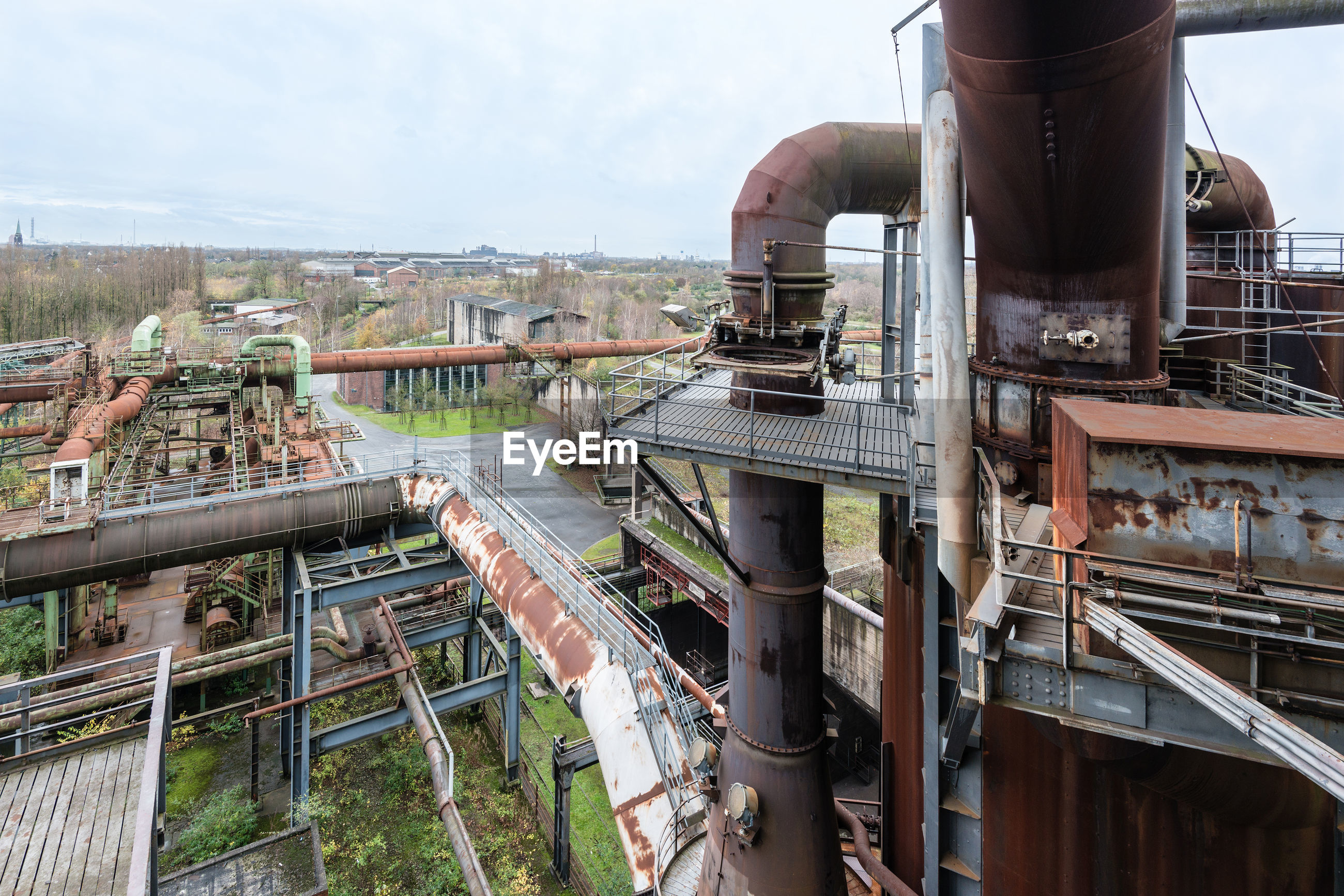 High angle view of abandoned factory