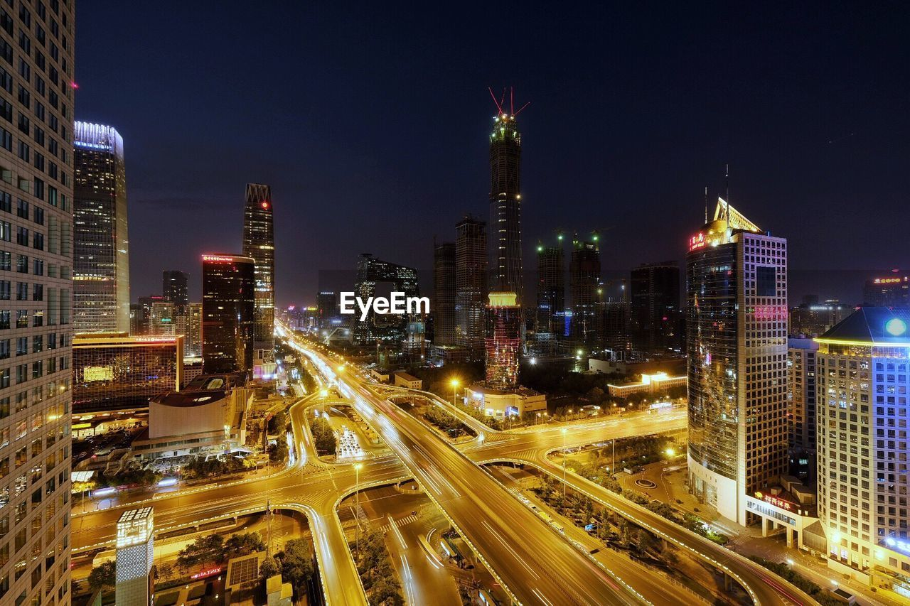 Aerial View Of Beijing City Lit Up At Night