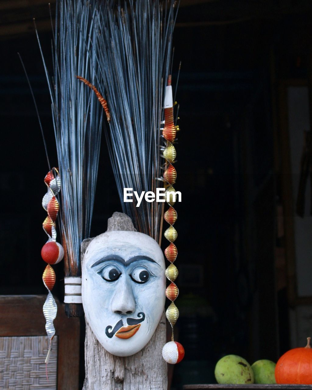 tradition, religion, indoors, spirituality, no people, anthropomorphic face, sculpture, day, clown, close-up