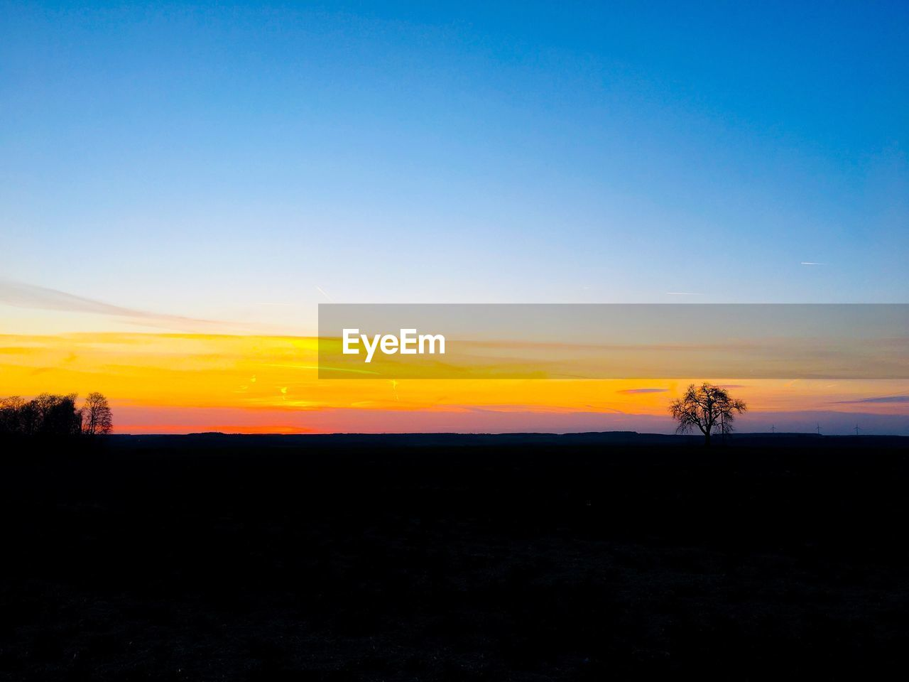 sky, sunset, scenics - nature, beauty in nature, tranquil scene, silhouette, tranquility, copy space, environment, landscape, idyllic, nature, non-urban scene, tree, orange color, no people, plant, land, field, blue, outdoors
