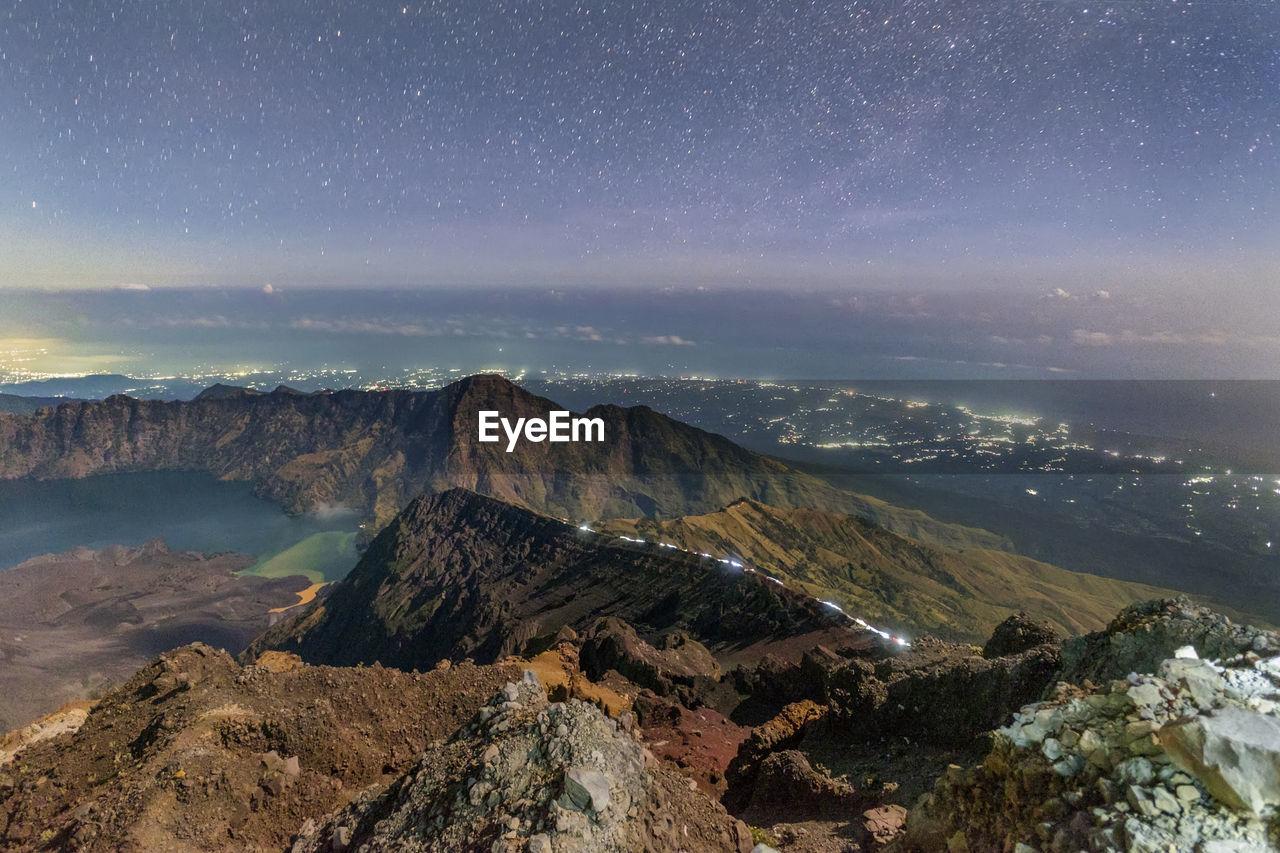 Blue Hour At Summit Mount Rinjani, Indonesia