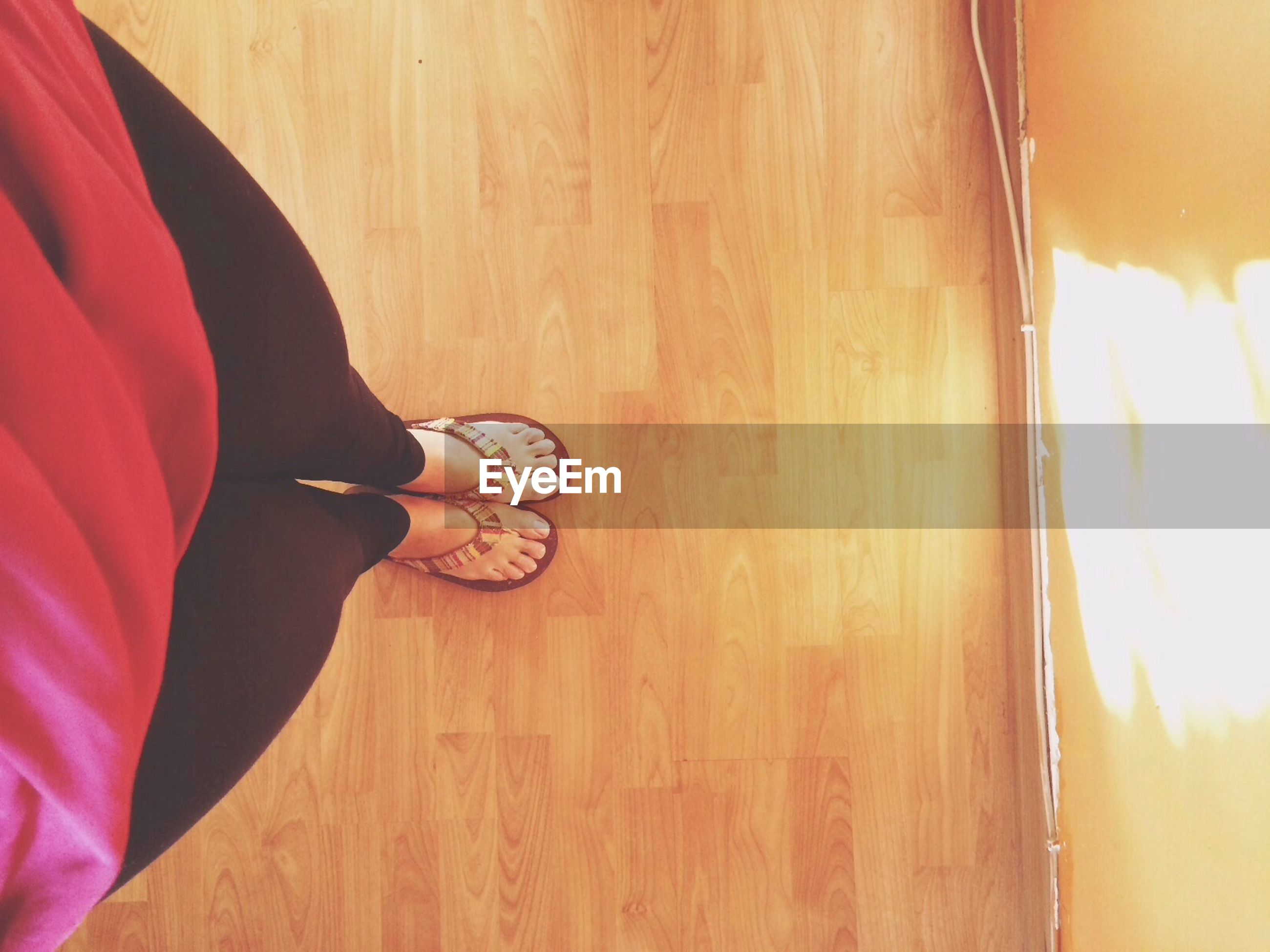 low section, lifestyles, person, indoors, leisure activity, standing, men, human foot, part of, unrecognizable person, casual clothing, high angle view, sunlight, red, shoe