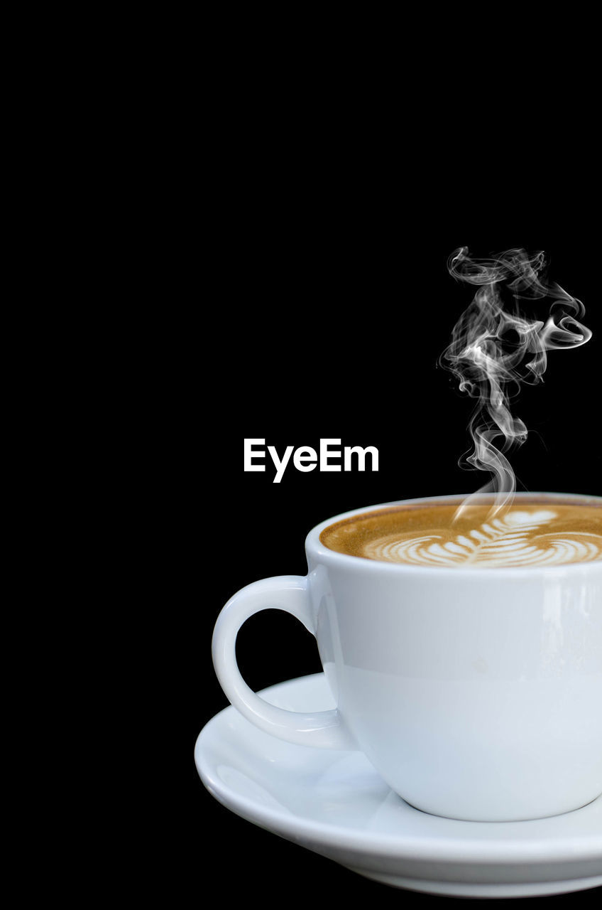 coffee, coffee cup, food and drink, cup, drink, coffee - drink, refreshment, mug, black background, indoors, studio shot, copy space, still life, crockery, freshness, saucer, close-up, smoke - physical structure, no people, hot drink, frothy drink, latte, non-alcoholic beverage