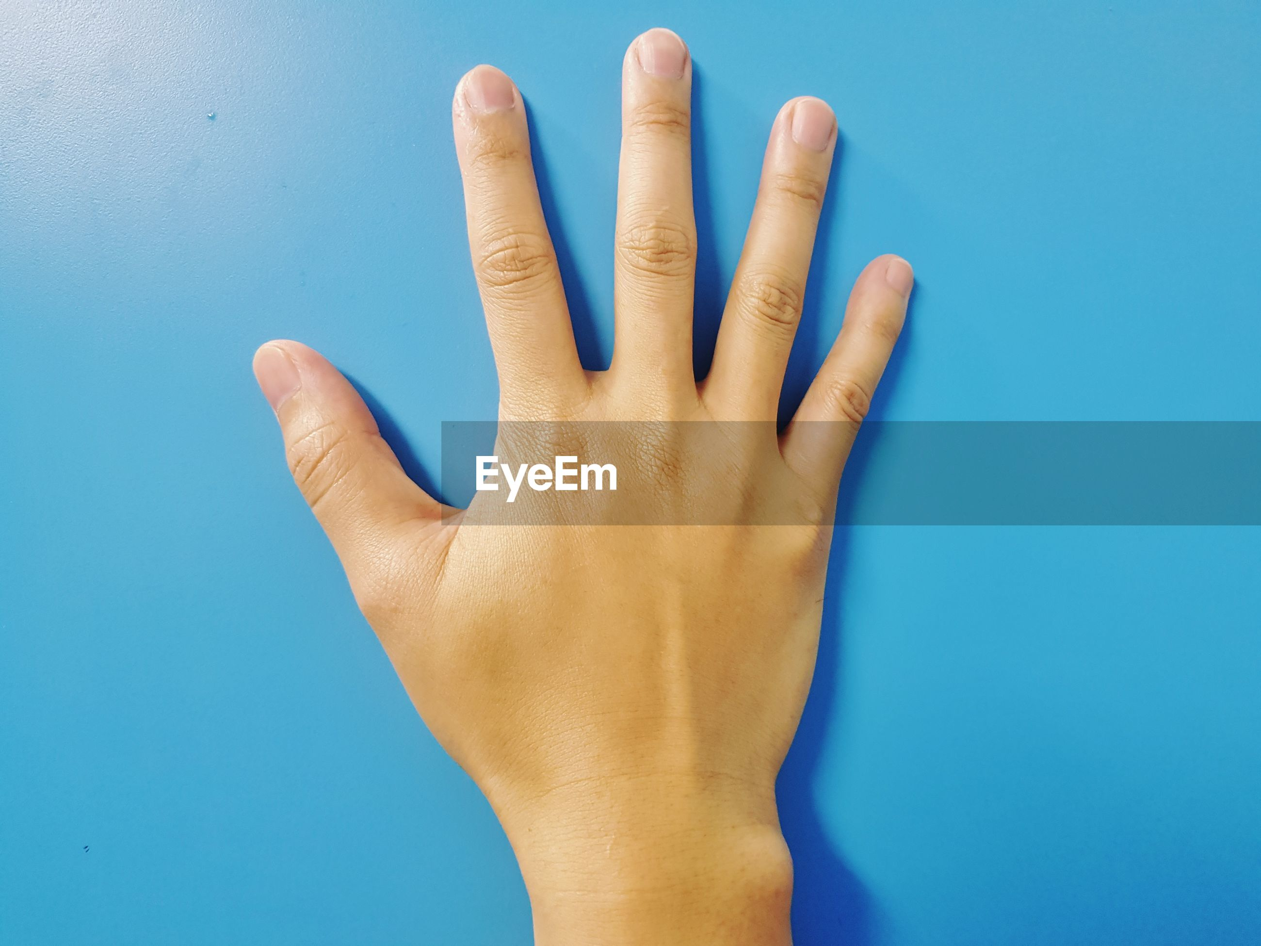 CLOSE-UP OF HUMAN HAND OVER BLUE BACKGROUND