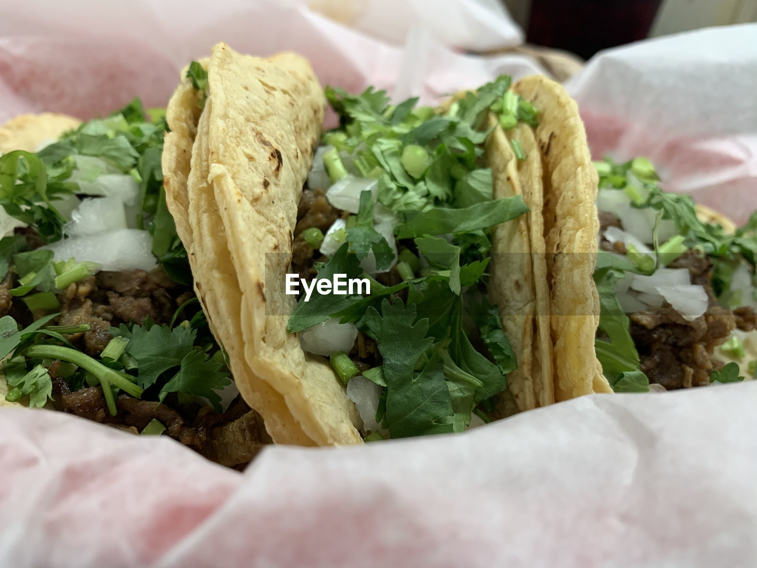 High angle view of tacos in container