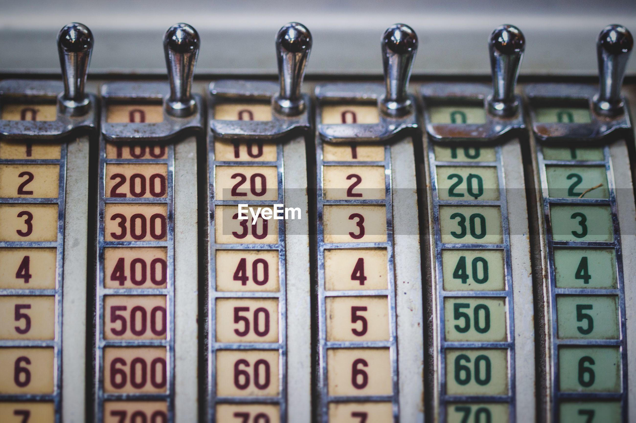 Close-up of slot machine