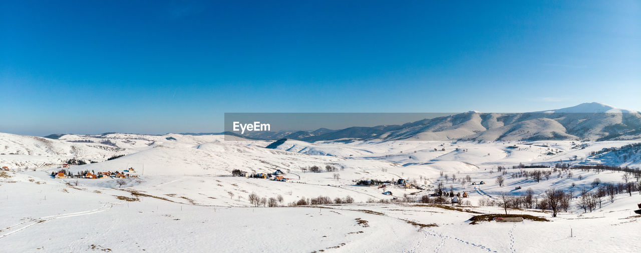 scenics - nature, sky, mountain, beauty in nature, winter, snow, cold temperature, tranquil scene, tranquility, blue, environment, non-urban scene, mountain range, nature, landscape, snowcapped mountain, clear sky, copy space, white color, no people