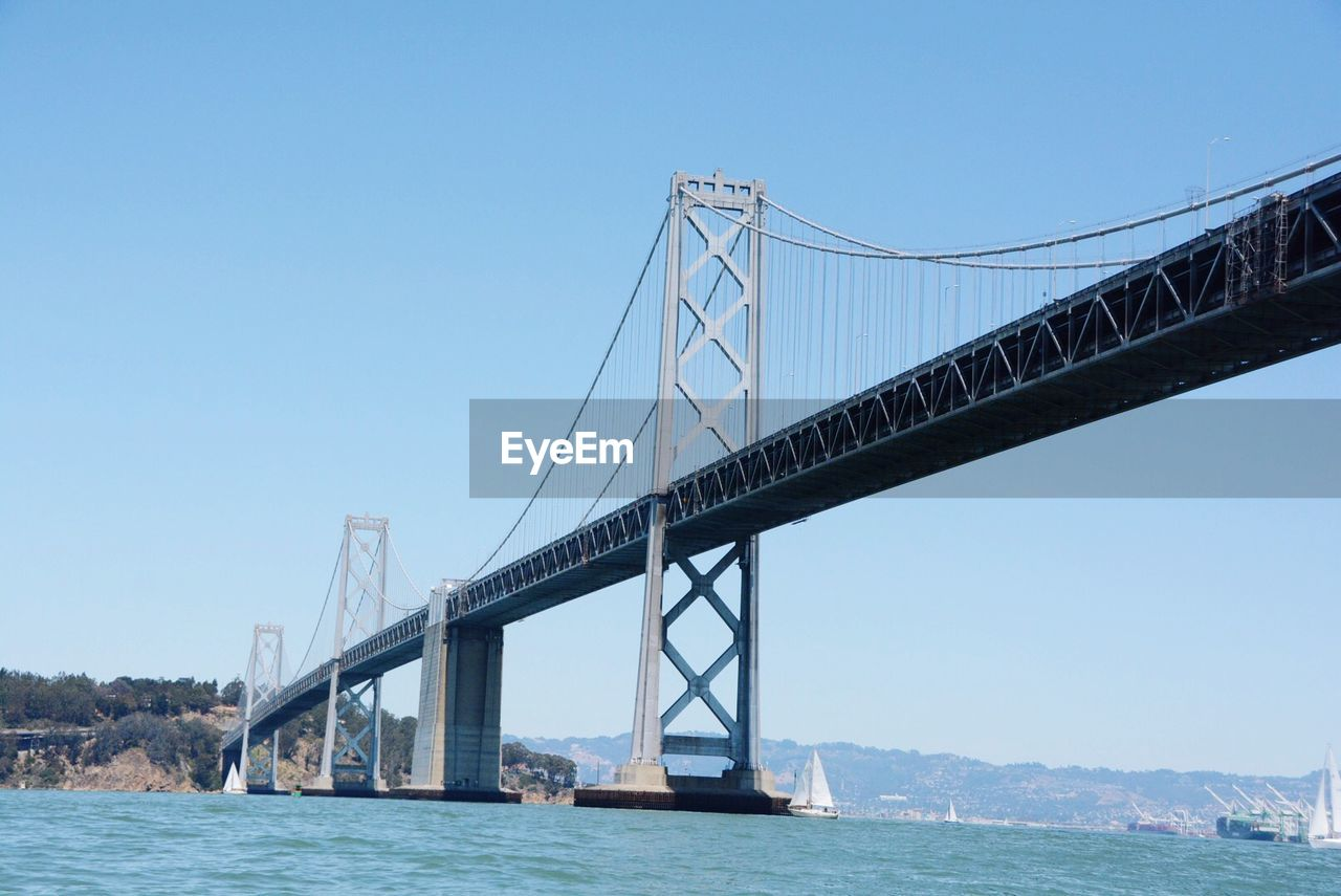 Low angle view of oakland bay bridge over river against clear sky