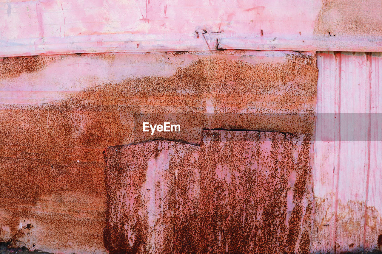 weathered, wall - building feature, built structure, architecture, old, damaged, abandoned, decline, no people, day, run-down, deterioration, metal, building exterior, rusty, textured, full frame, close-up, outdoors, obsolete, ruined