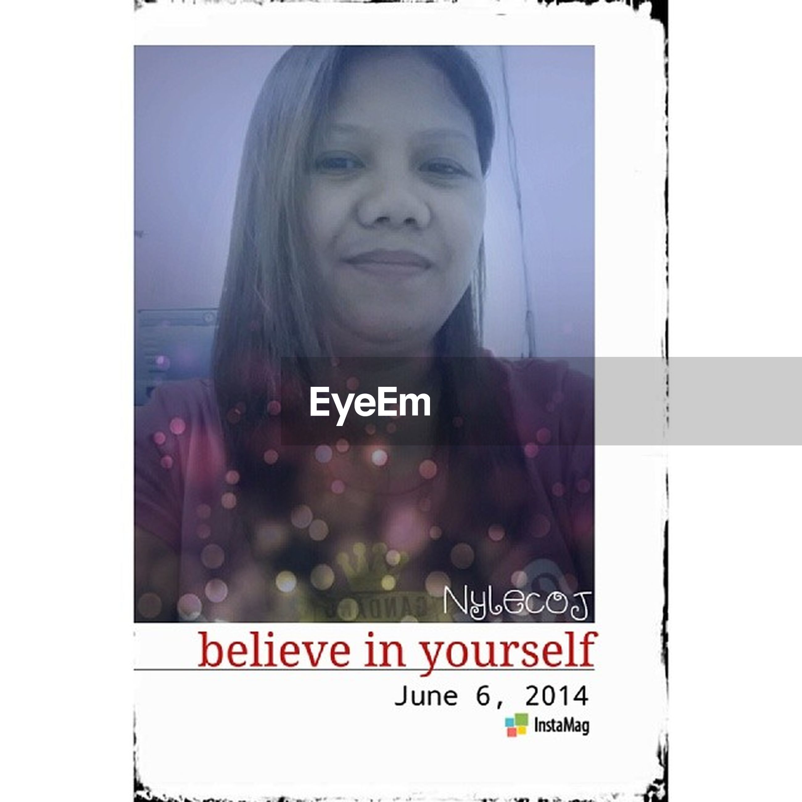 transfer print, auto post production filter, person, young adult, looking at camera, portrait, lifestyles, front view, text, communication, leisure activity, young women, waist up, western script, smiling, casual clothing, happiness, standing
