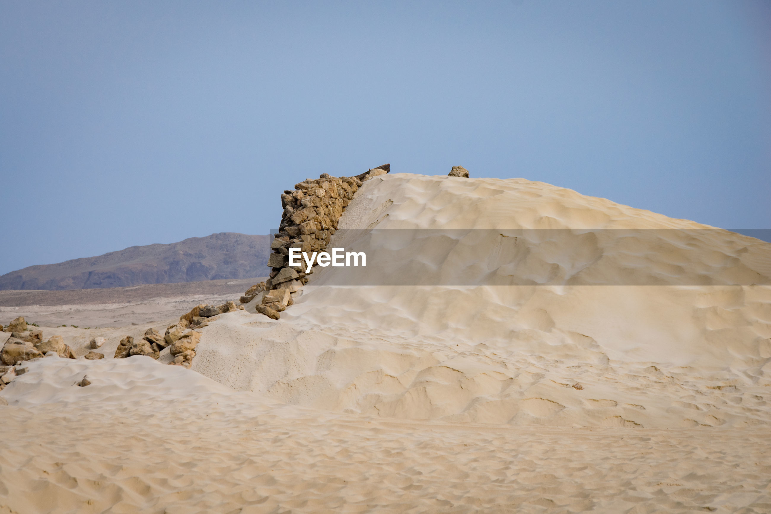 LOW ANGLE VIEW OF A DESERT AGAINST CLEAR SKY