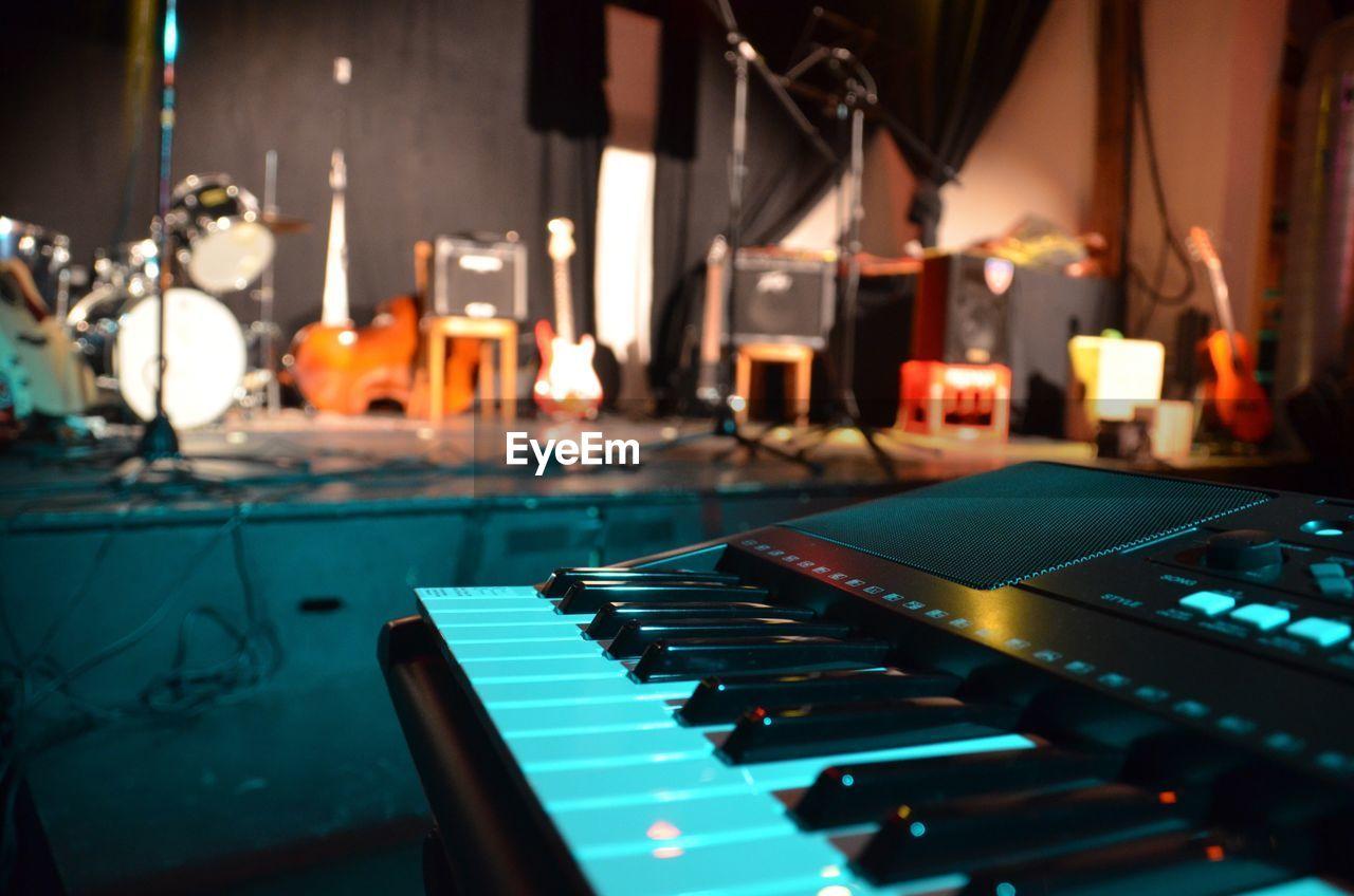 Close-up of piano in recording studio