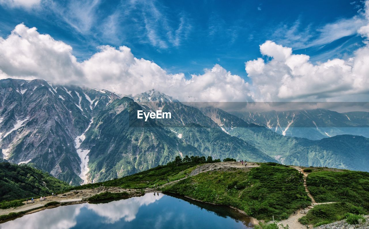 mountain, cloud - sky, scenics - nature, beauty in nature, sky, tranquil scene, environment, tranquility, mountain range, landscape, nature, no people, non-urban scene, day, outdoors, snow, idyllic, water, cold temperature, range, mountain peak, snowcapped mountain