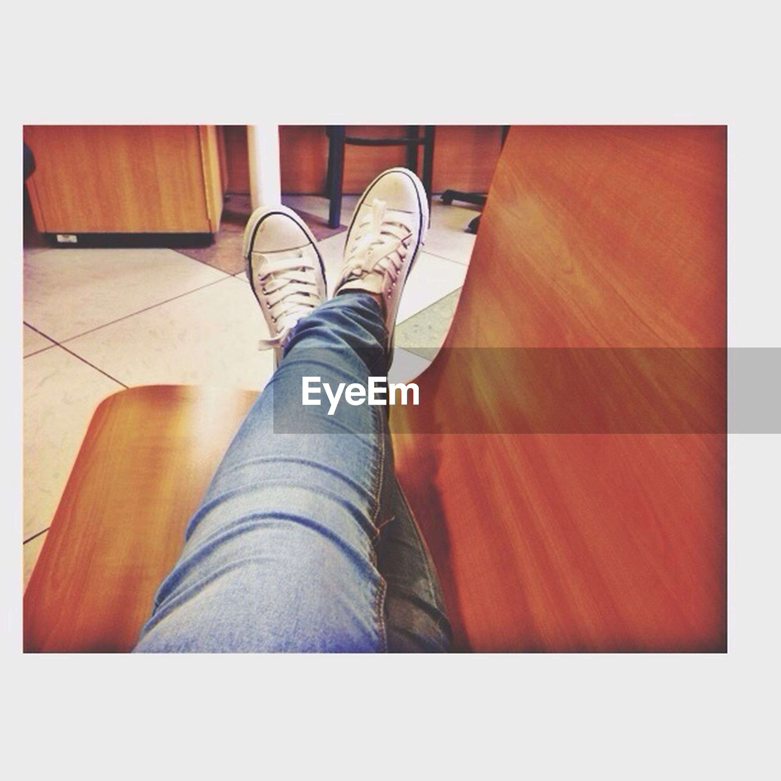 transfer print, low section, person, shoe, auto post production filter, indoors, footwear, human foot, jeans, personal perspective, red, relaxation, sitting, high angle view, standing, canvas shoe, flooring
