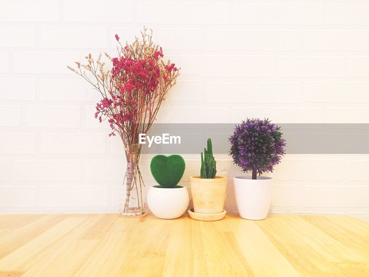flower, plant, flowering plant, indoors, no people, still life, vase, nature, wall - building feature, container, table, freshness, growth, purple, decoration, wood - material, group of objects, flooring, potted plant, fragility, flower head, flower arrangement, flower pot, bouquet