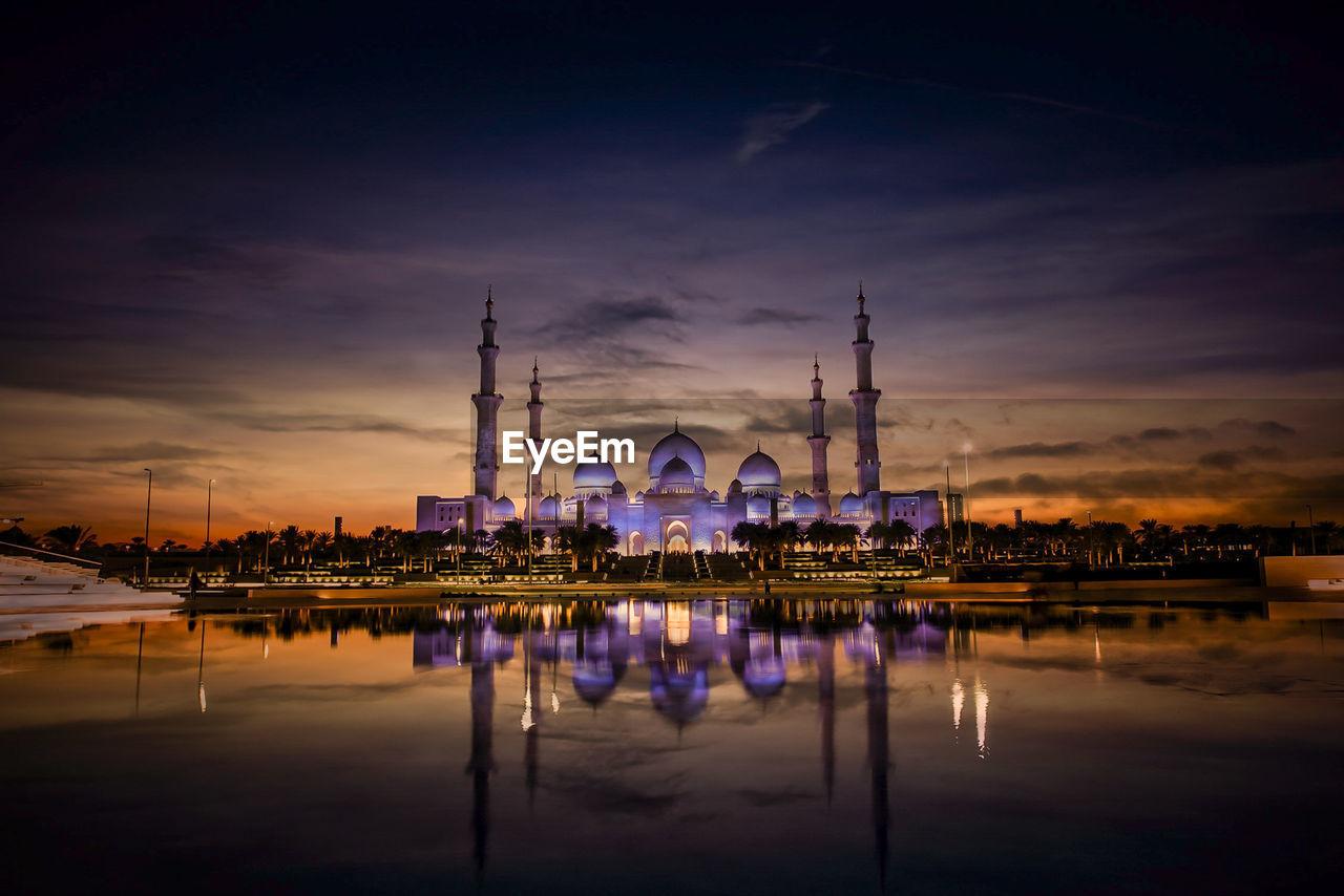 Illuminated mosque at night