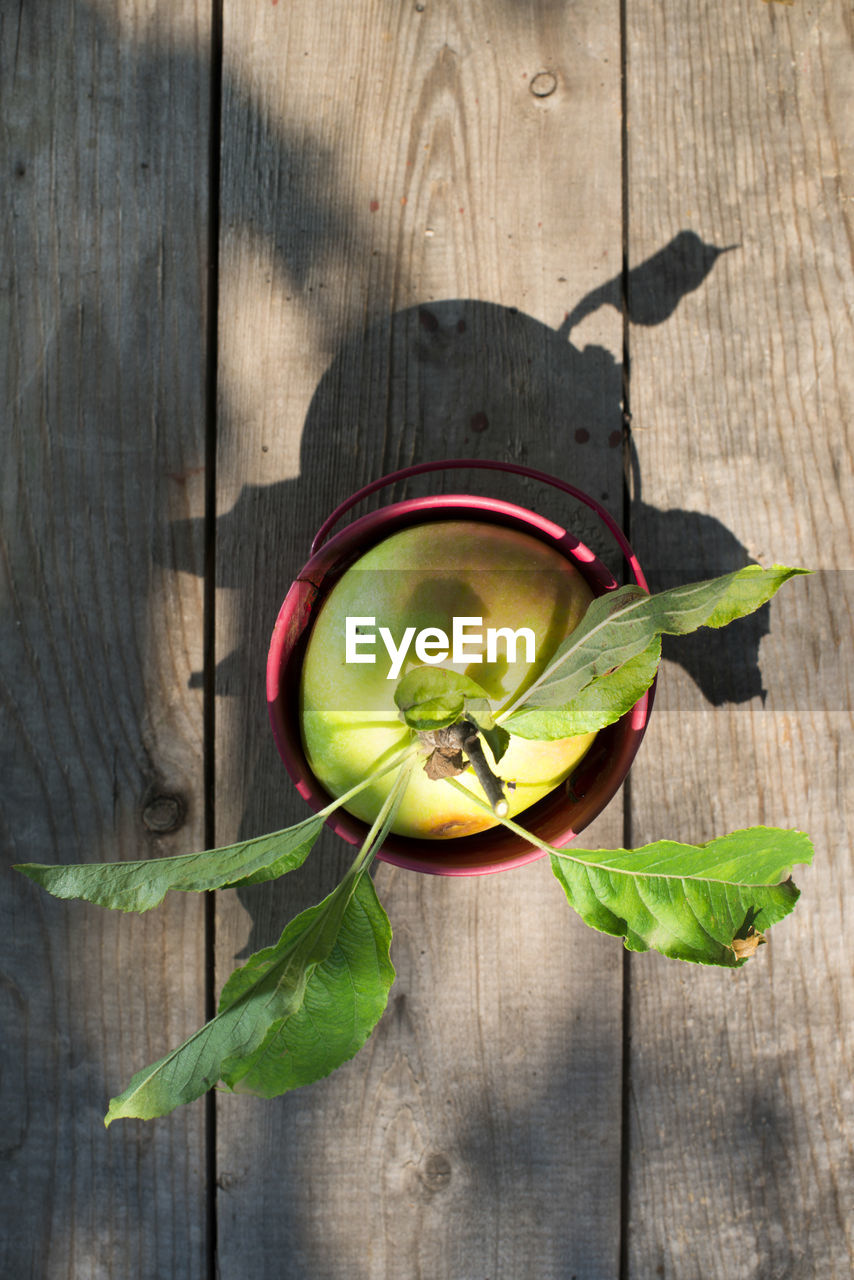 wood - material, leaf, healthy eating, plant part, directly above, food and drink, food, wellbeing, freshness, fruit, table, green color, no people, nature, high angle view, shadow, sunlight, indoors, still life, close-up, leaves