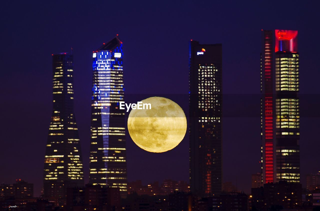 illuminated, night, skyscraper, building exterior, city, architecture, built structure, modern, no people, outdoors, moon, cityscape, clear sky, sky
