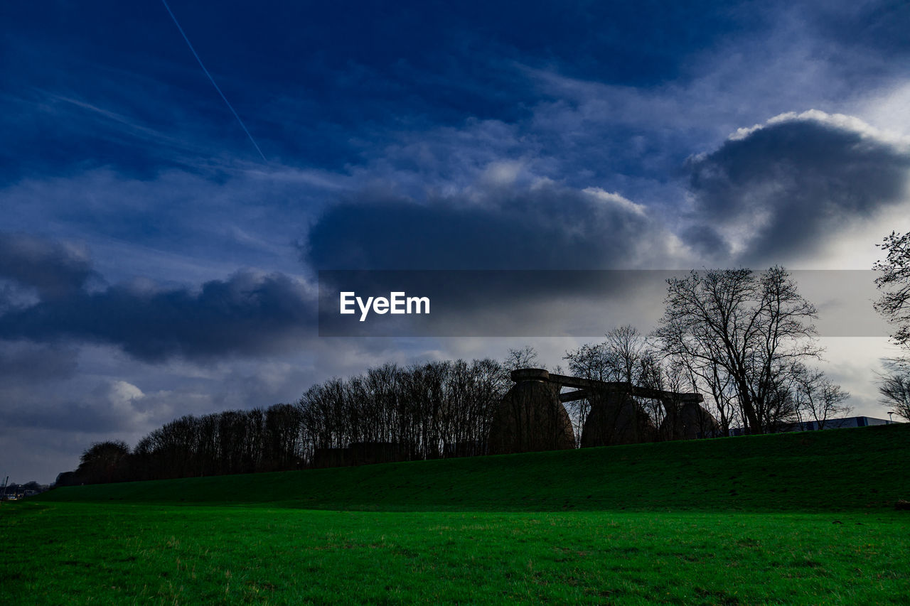 tree, sky, grass, field, nature, cloud - sky, tranquility, beauty in nature, tranquil scene, no people, scenics, bare tree, landscape, outdoors, day, architecture, built structure, building exterior