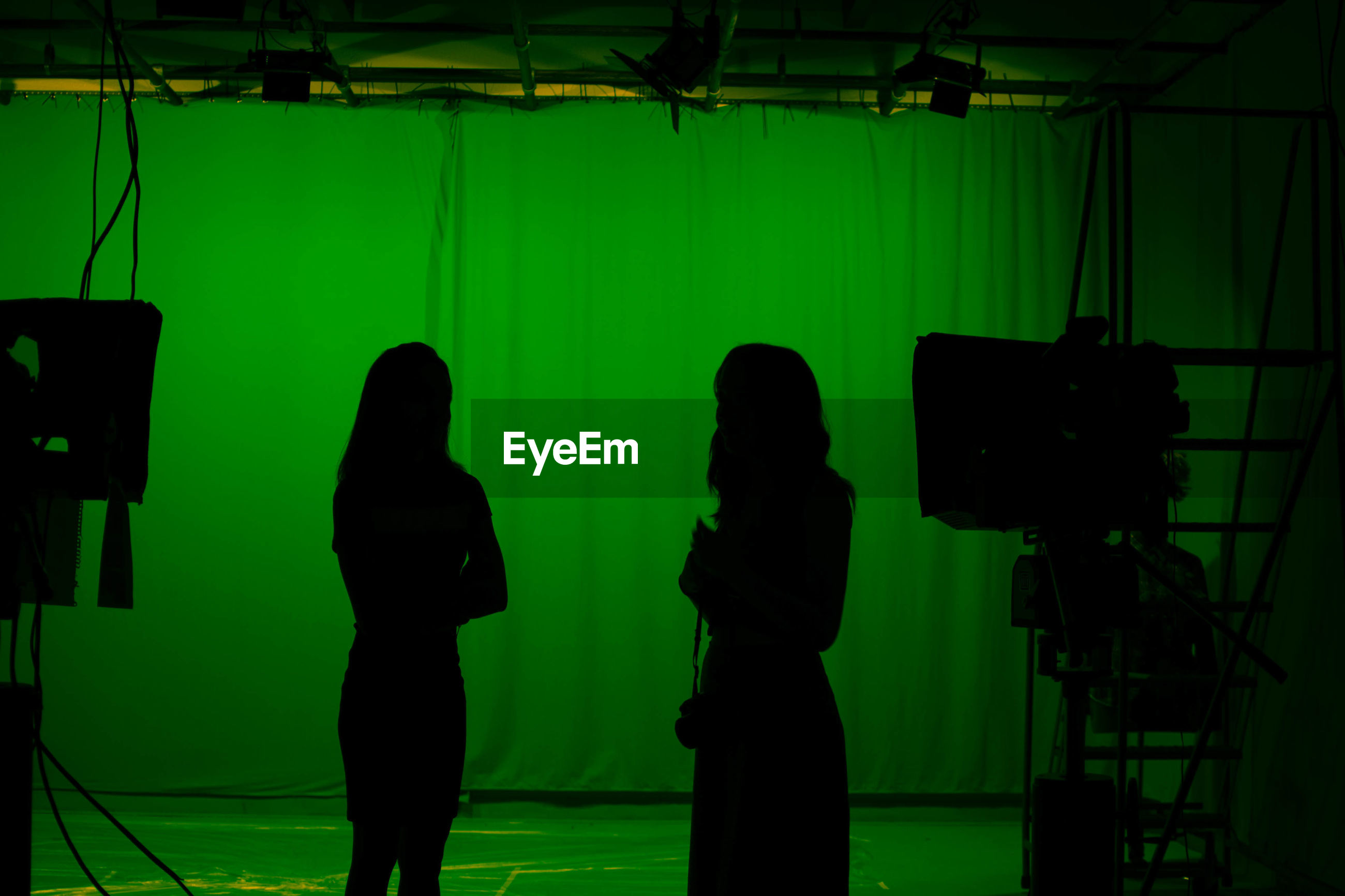 Silhouette of two women