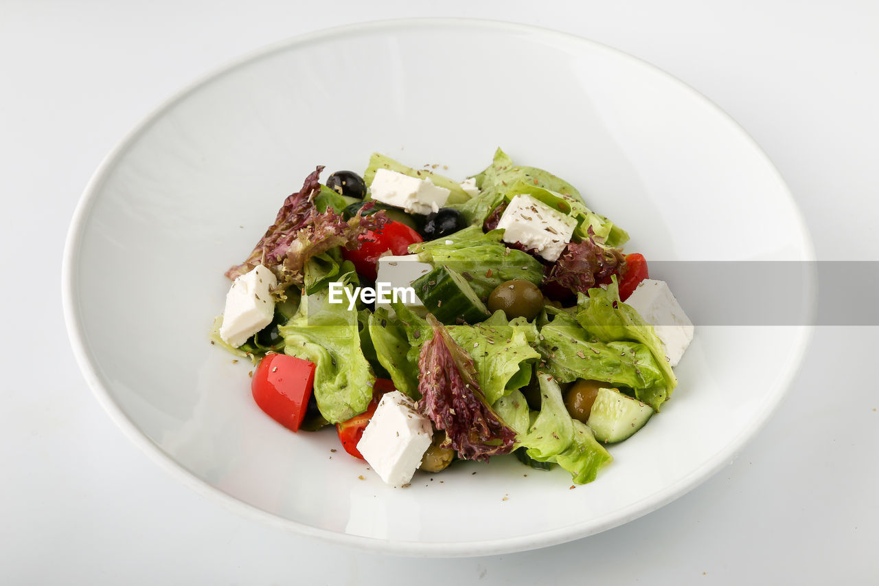 Close-up Day Food Food And Drink Freshness Greek Food Healthy Eating Indoors  No People Plate Ready-to-eat Salad Studio Shot White Background