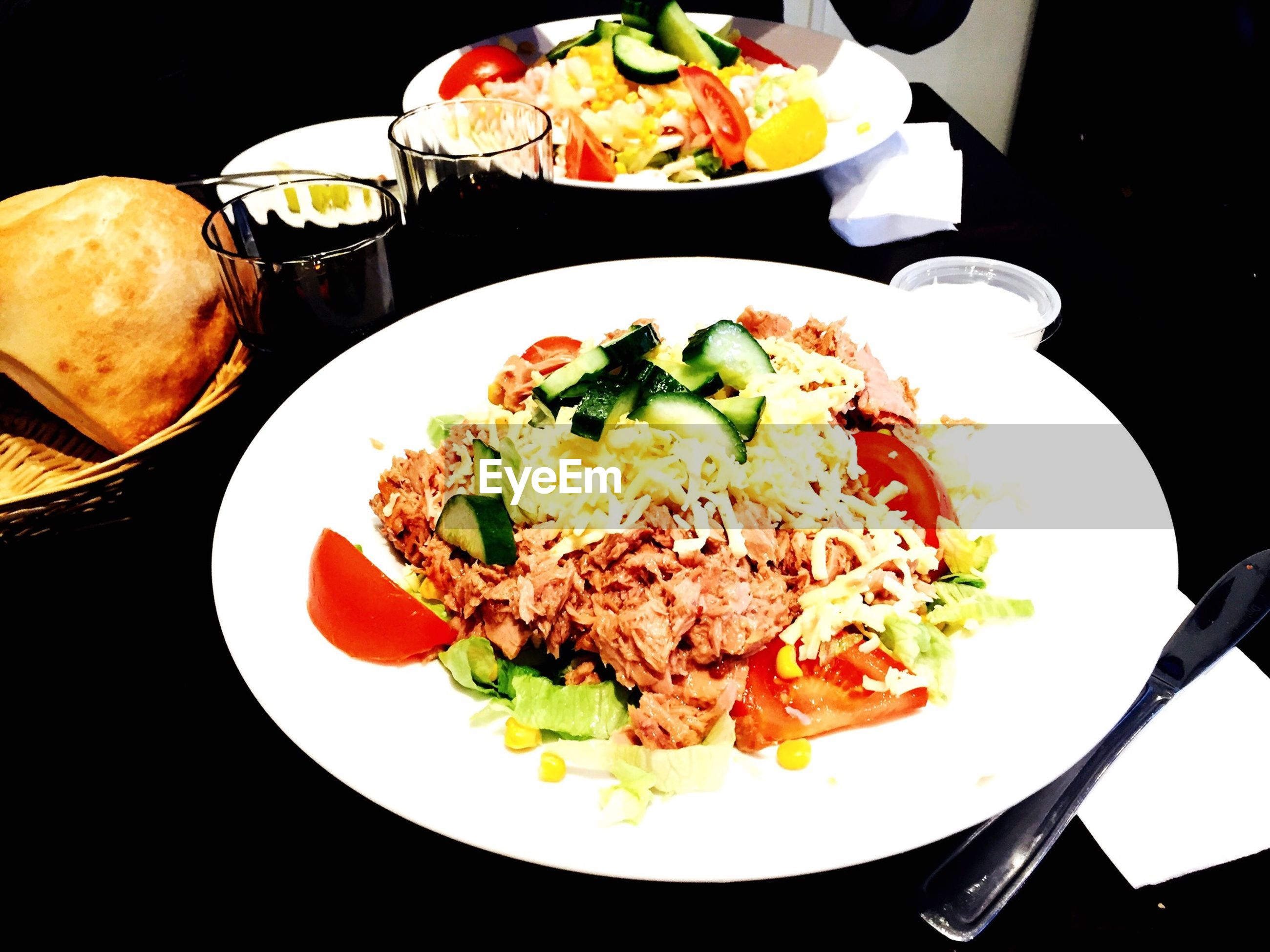 food and drink, food, freshness, indoors, plate, ready-to-eat, table, healthy eating, still life, meal, serving size, salad, vegetable, high angle view, served, bowl, meat, close-up, fork, indulgence
