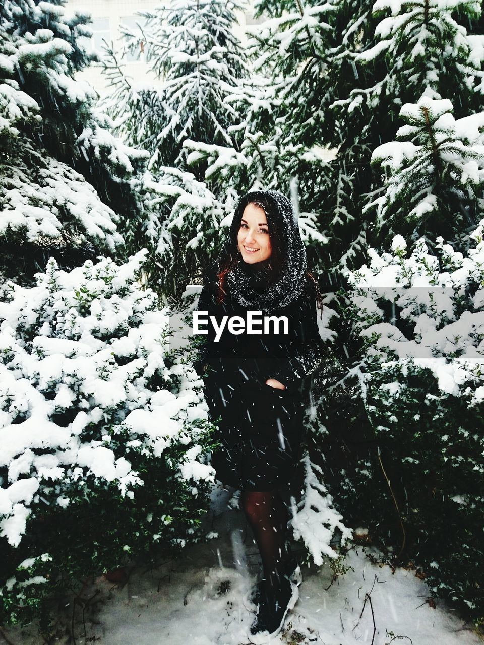 Portrait of young woman standing amidst plants during snowfall
