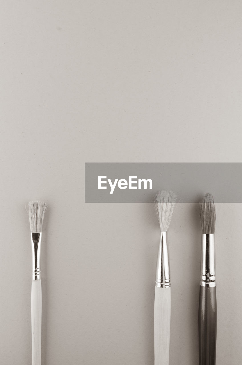 still life, indoors, studio shot, no people, copy space, white background, brush, close-up, variation, paintbrush, simplicity, group of objects, choice, side by side, three objects, two objects, metal, wall - building feature, table, single object, silver colored
